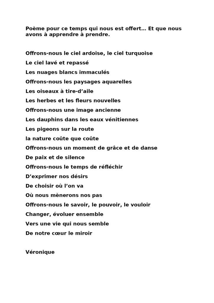 Poème pour ce temps qui nous Veronique poeme pour ce temp qui nous est offert est offert… Et que nous avons à apprendre à prendre_page-0001